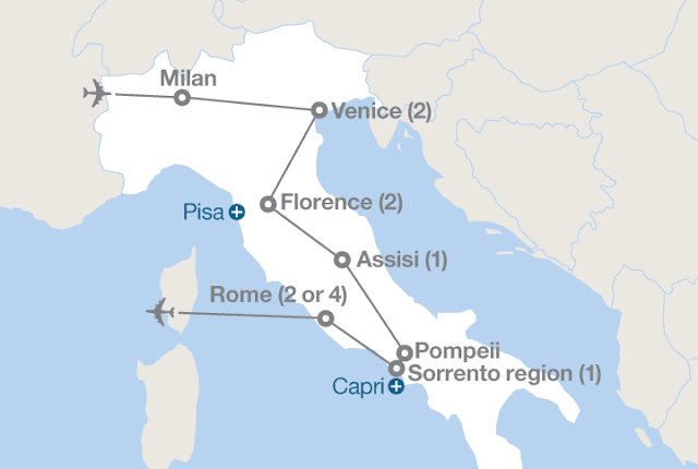 Map of the Grand Tour of Italy from EF Tours