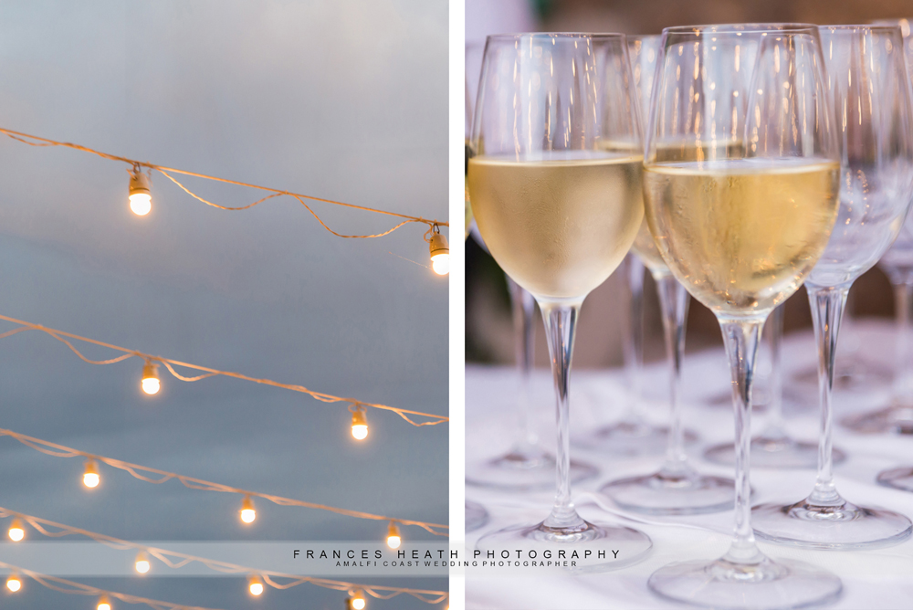 Details of champagne and fairy lights at wedding reception
