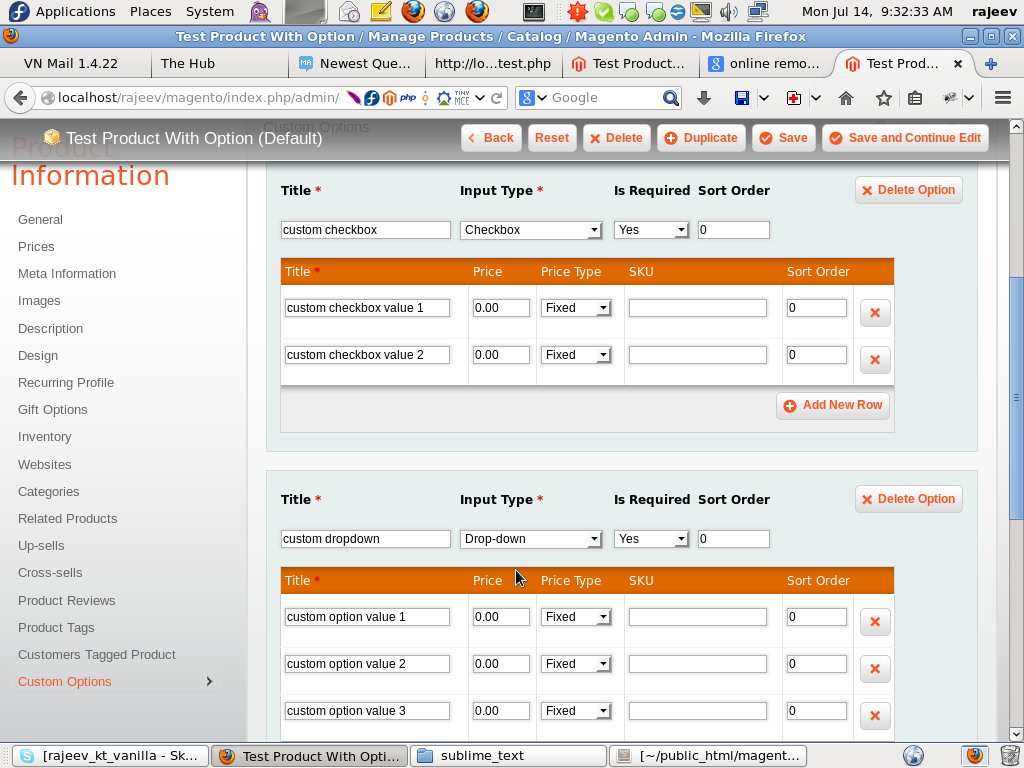 Get Values of Custom Option ~ My Experiments With Magento