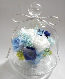 プリザーブドガラスドーム/ブルー