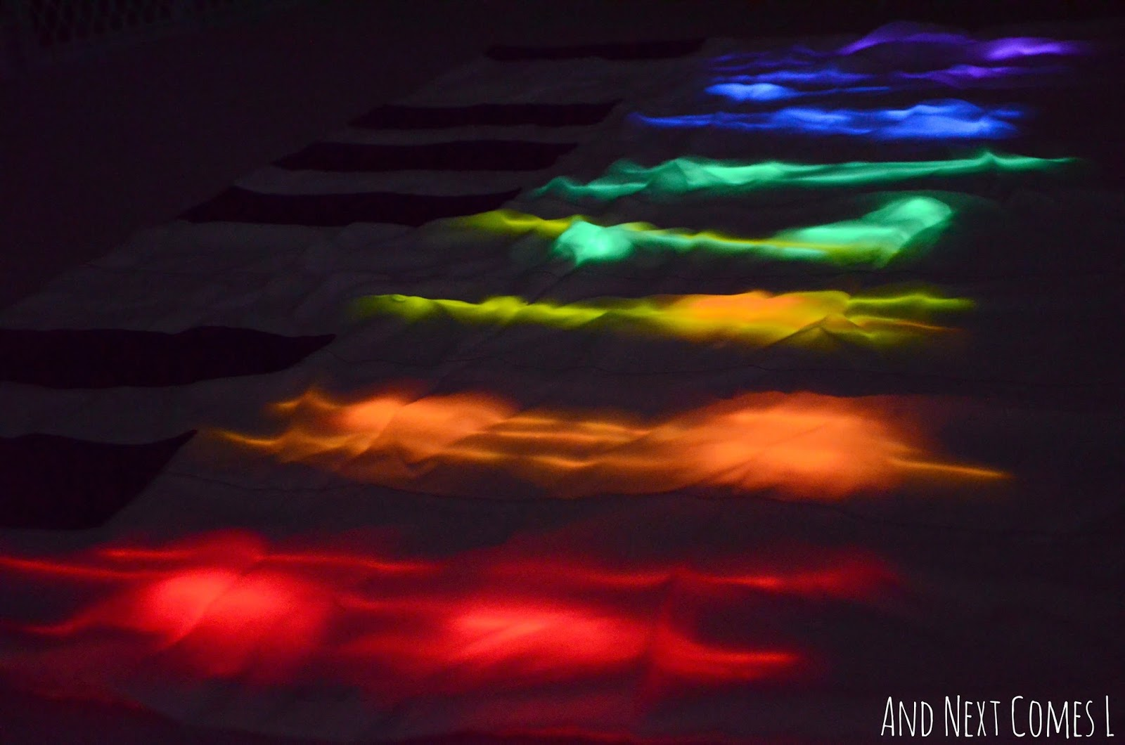 Homemade glowing floor piano from And Next Comes L