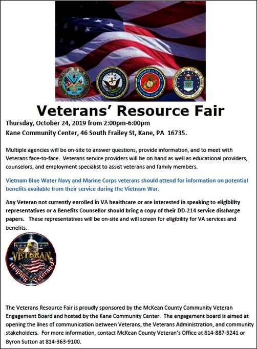 10-24 Veterans Resource Fair, Kane, PA