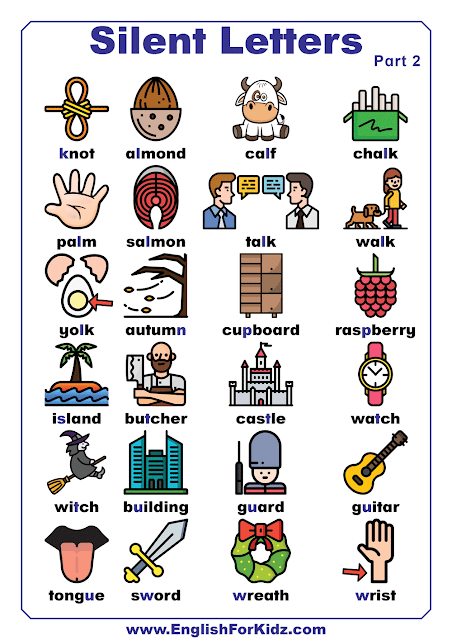 Silent letters list of words - printable English worksheets
