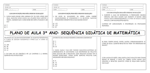 PLANO DE AULA 3º ANO: SEQUÊNCIA DIDÁTICA DE MATEMÁTICA