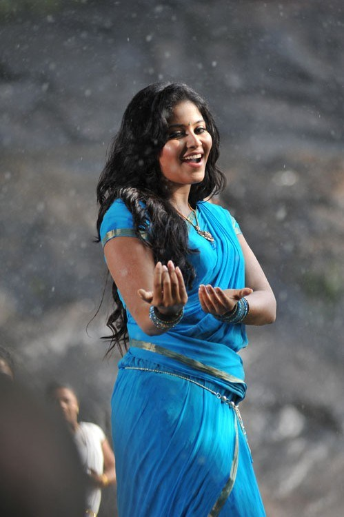 Glamorous Anjali Hot Photos In Blue Saree
