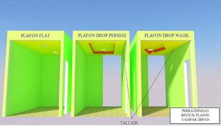 Tiga dimensi disain plafon ruang tamu