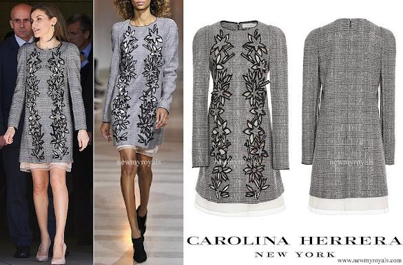 Queen Letizia wore Carolina Herrera Prince Of Wales Floral Cutout Dress