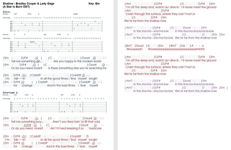 Lady Gaga Shallow Lyrics Chords Daedalusdrones Com