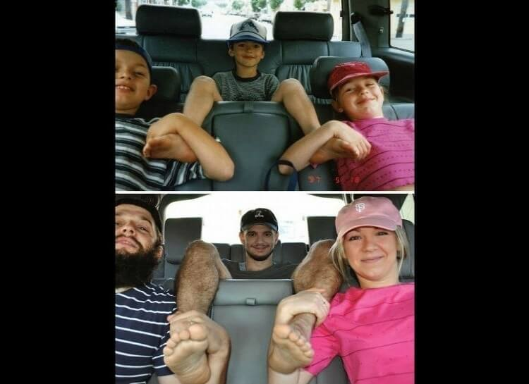 20 Hilarious Before And After Pictures Made By Adults Who Reminisced Their Childhood Years - There's nothing better than a car ride with your siblings.