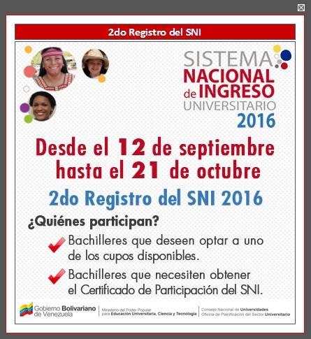 APERTURA SEGUNDO REGISTRO SISTEMA NACIONAL DE INGRESO (OPSU)