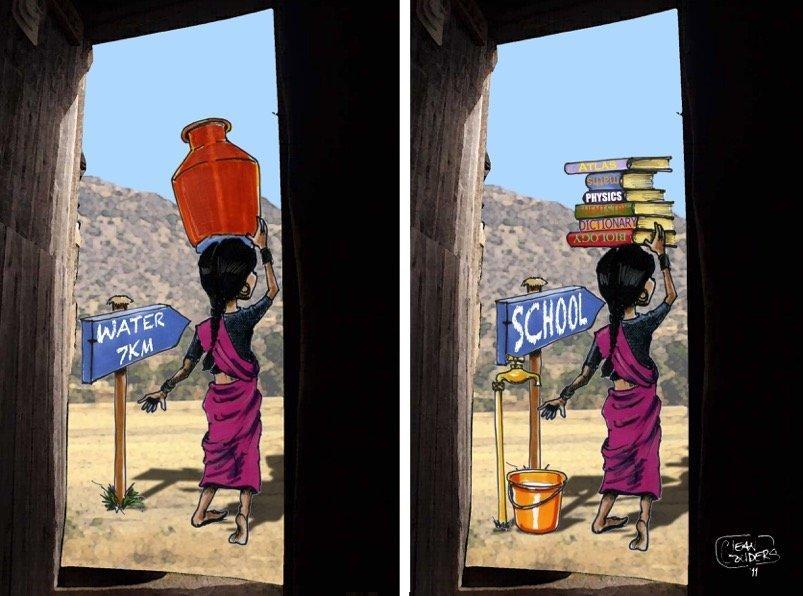 Cartoon com criança a transportar livros em vez de água