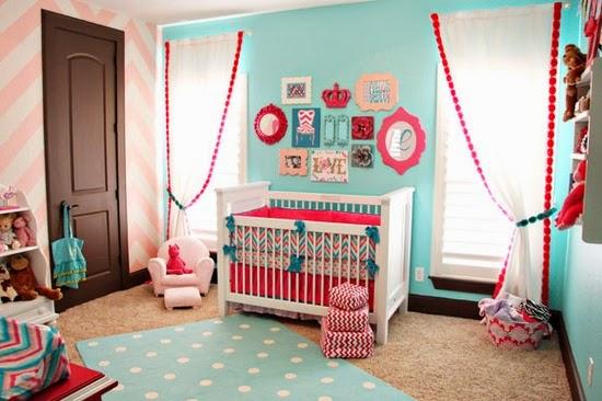 cuarto beb rosa turquesa