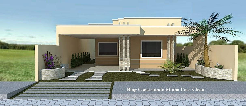 Construindo minha casa clean fachadas de casas t rreas pequenas com garagem - Fachadas de viviendas sencillas ...