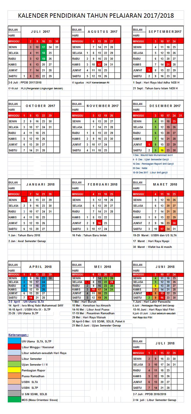 Kalender Pendidikan Tahun Ajar 2017/2018 untuk Semua Jenjang Pendidikan