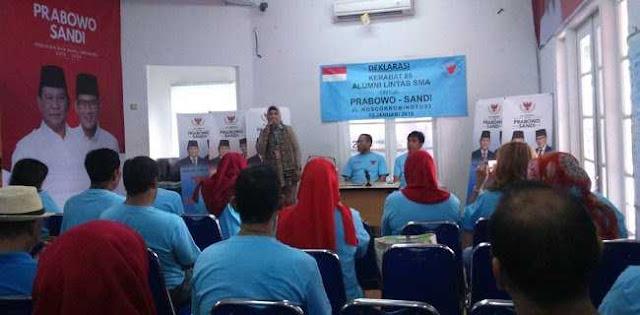 Alumni Lintas SMA Deklarasi Dukung Prabowo-Sandi