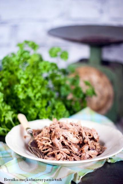 indyk, pulled turkey, rwany indyk, wolno pieczony, dlugo pieczony indyk, obiad, dietetycznie, mieso, bernika, kulinarny pamietnik