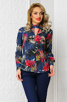 Bluza Carolyn bleumarin casual office cu imprimeu