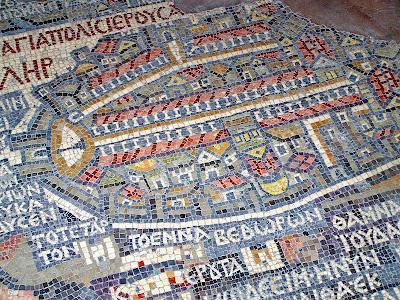 Piso de mosaico en Madaba (Jordania) representando el plano de Jerusalén (bizantina)