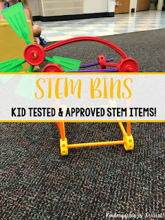 STEM bins have become a daily activity in my kindergarten classroom.  The kids love the hands-on learning that they can do.  They create projects and use their imagination.  I am so glad that I have been able to integrate STEM into the schedule at my elementary school.  My kindergarten students love #1 and even convinced their first grade teachers to get it!  What is your favorite?