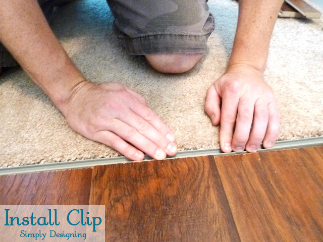 Install Clip for Transition Strip | #diy #carpet #laminateflooring #flooring #homeimprovement | at Simply Designing