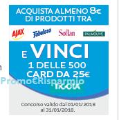 Logo Ajax, Fabuloso, Soflan e Palmolive: acquista e vinci 500 card Tigotà da 25€