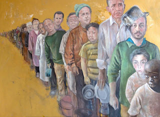 Syrian artist depicts Trump, Obama, Putin and other world leaders as refugees 1