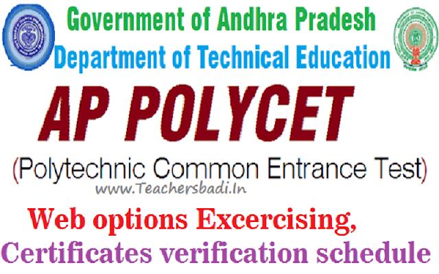 AP Polycet 2018,1st phase Web options,Certificates verification schedule
