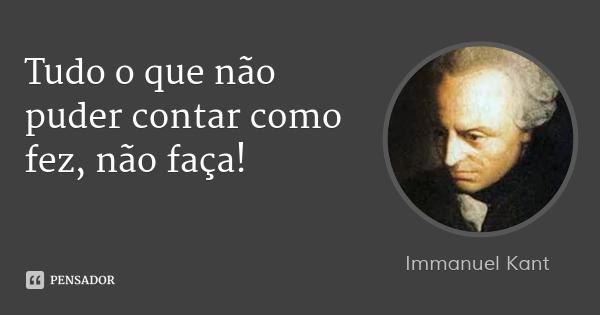 Recado do filósofo Immanuel Kant para Lula