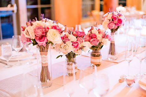 Headtable, Bridesmaids Bouquets Used as Centerpieces