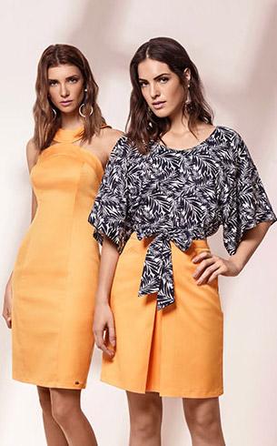 Maria.Valentina verão 2017 vestido piquet blusa estampada com amarração e saia