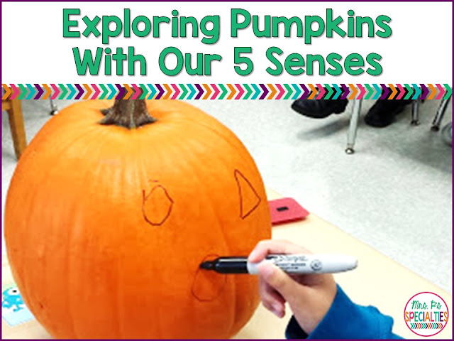 Fall offers a lot of opportunities for hands on science experiments. It's also a great time to build background and life experiences. Exploring and carving a pumpkin is perfect for building attending and language skills... and you can sneak in science!