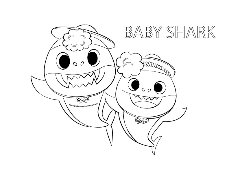 Gambar Mewarna Baby Shark  Gambar Mewarna
