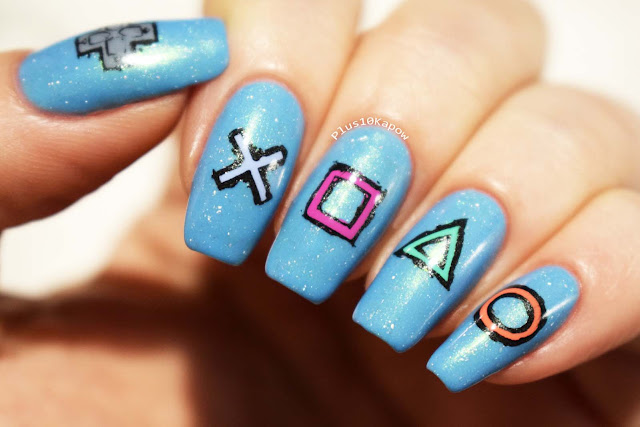 Playstation gamer nerdy nails Maniology Rebel Yell