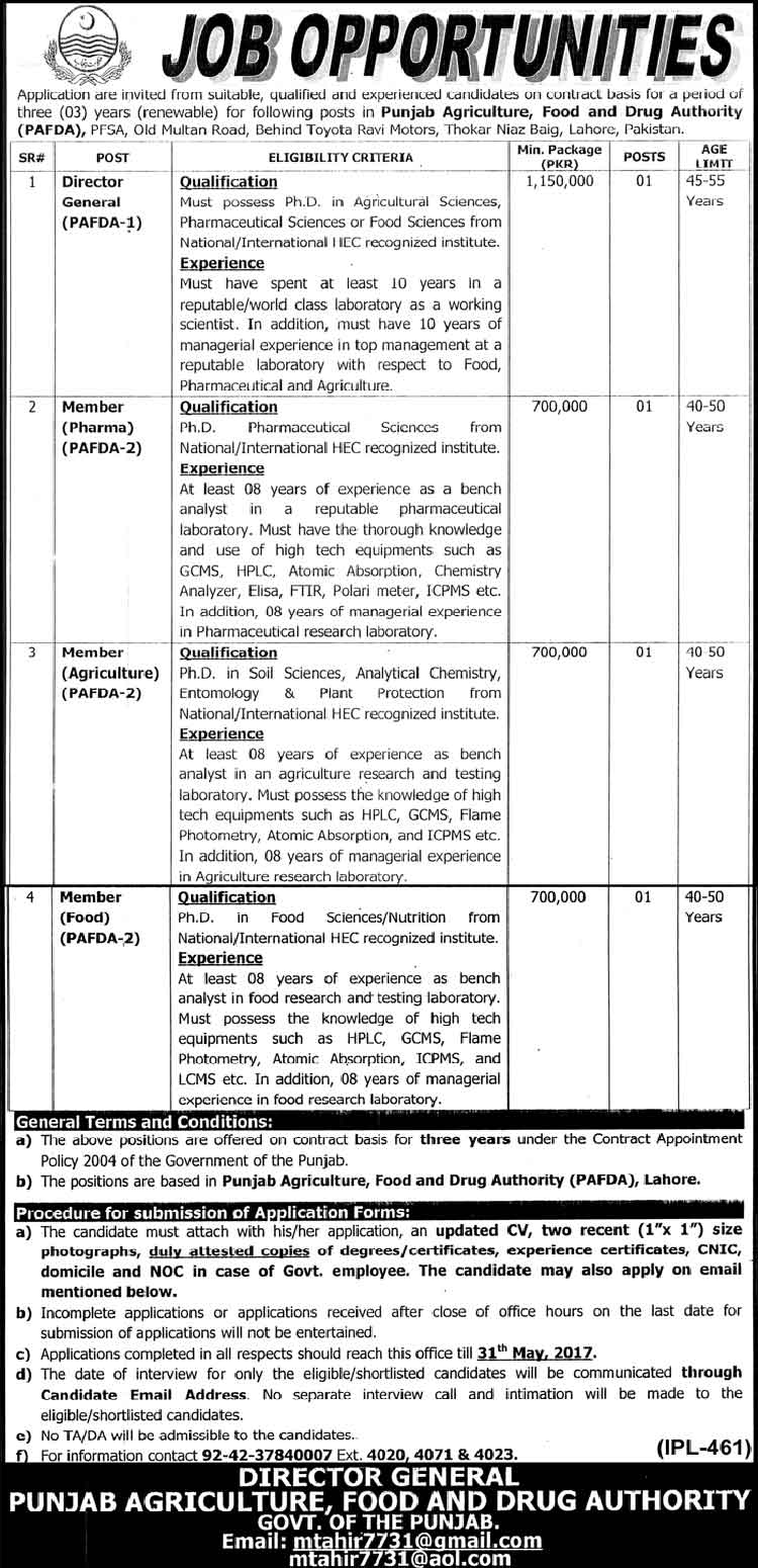 Punjab Agriculture, Food & Drug Authority Lahore jobs