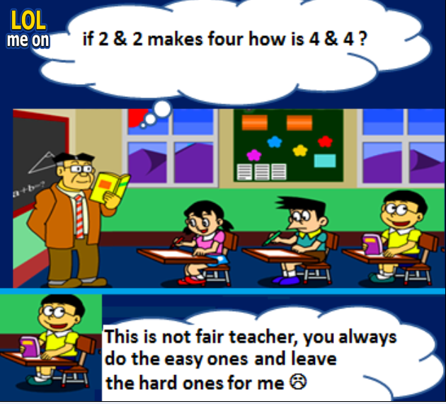 "funny cartoon picture shows a math test from ""LOL me on"""