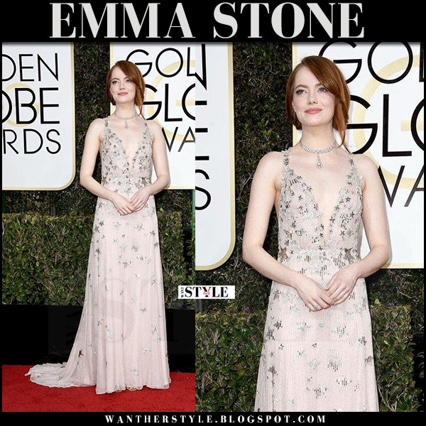 Emma Stone in silk star embellished gown valentino red carpet golden globes 2017 what she wore