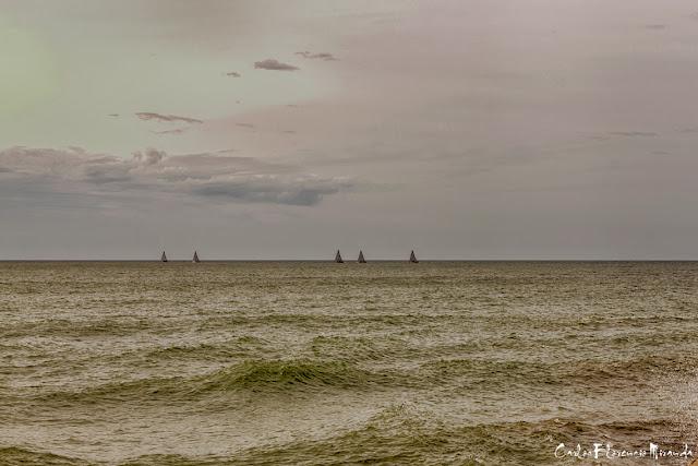 cinco barcos a vela en el horizonte al caer la tarde.