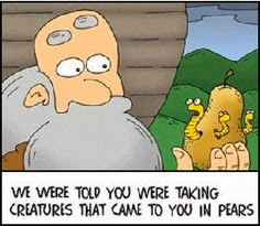 Funny Noah's Ark cartoon - worms in a pear - we were told you were taking in creatures that came in pears