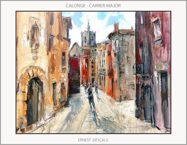 CALONGE-PINTURA-PAISATGES-CARRER MAJOR-ESGLESIA-POBLES-GIRONA-CATALUNYA-QUADRES-ARTISTA-PINTOR-ERNEST DESCALS-