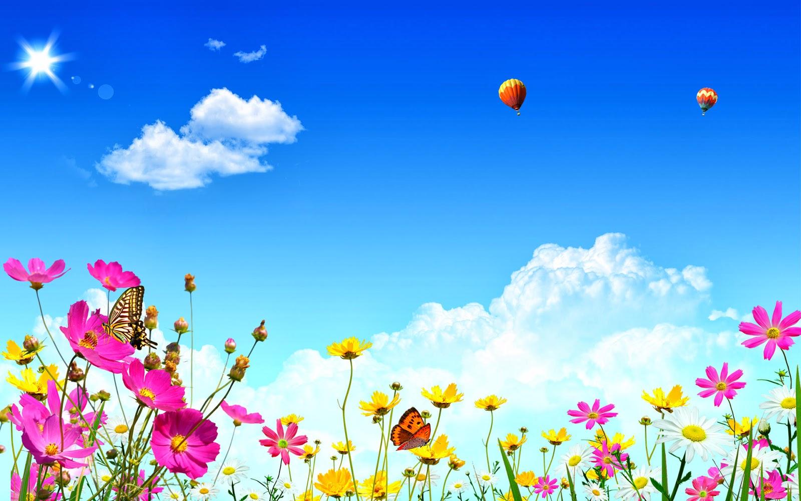 Fondo De Pantalla Abstracto Flores De Colores En Un Cielo Claro