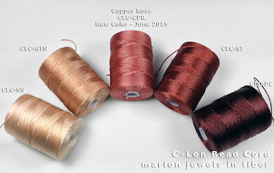 Comparing C-Lon Bead Cord Color Copper Rose with other colors