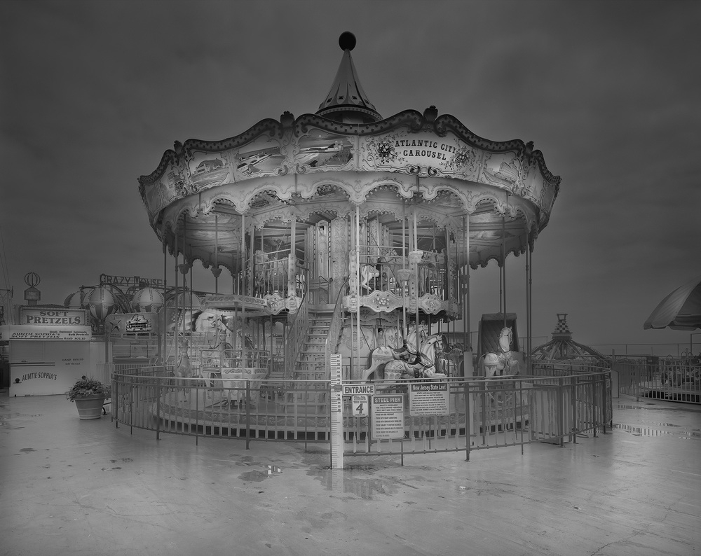 03-Atlantic-City-Carousel-Michael-Massaia-Black-and-White-Photographs-Funfair-and-Pinball-Machine-www-designstack-co