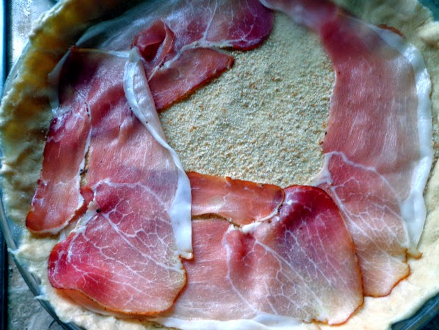 place prosciutto over breadcrumbs