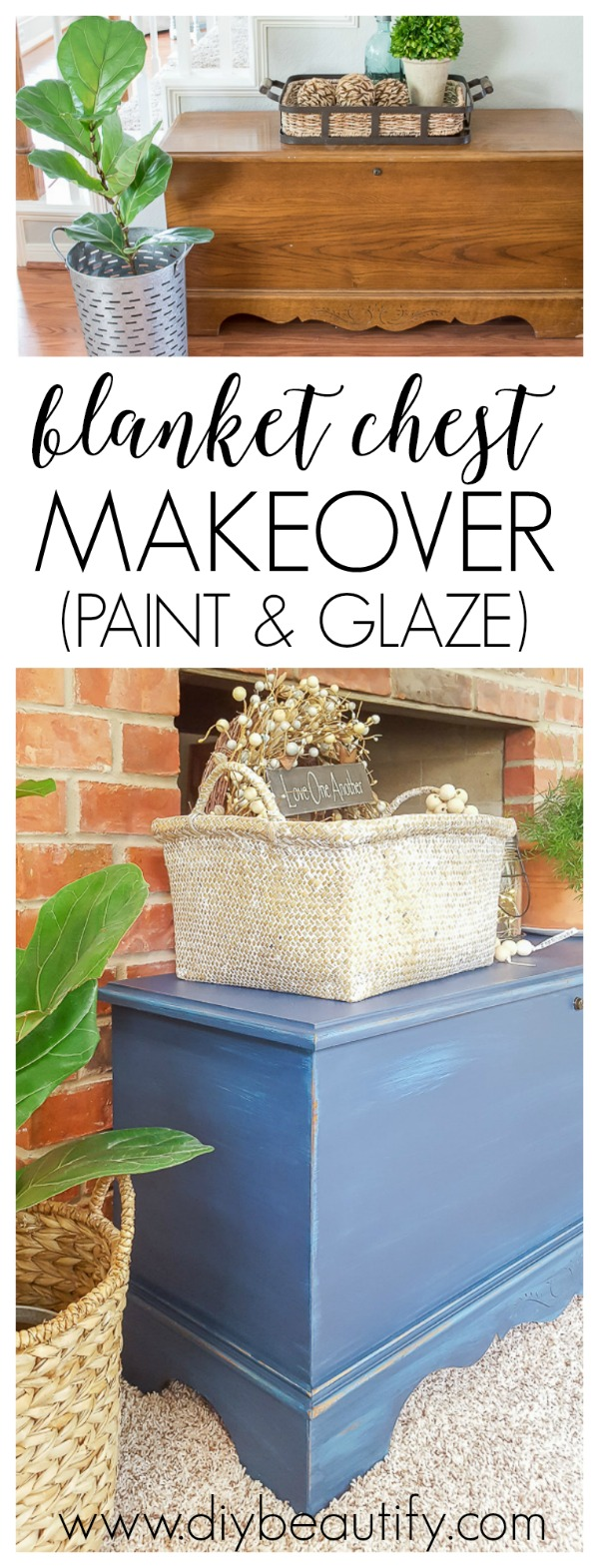 blanket chest makeover with DIY paint and glaze
