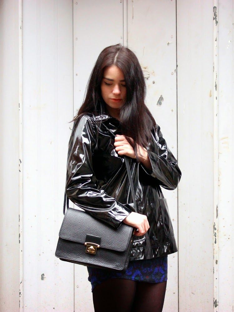 London fashion blogger Emma Louise Layla in black patent Petit Bateau raincoat