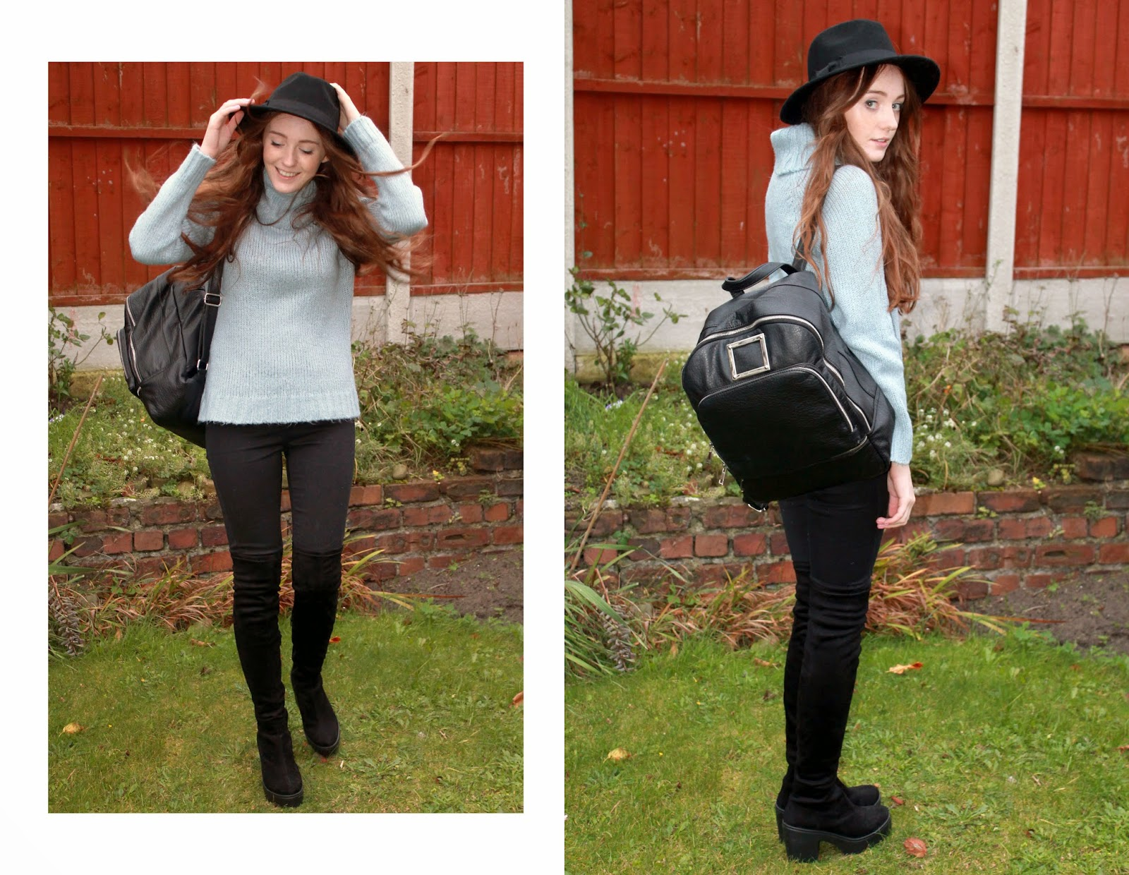 black primark fedora, pale blue roll neck jumper, black asos backpack, river island black lana skinny jeans and river island black heeled suede over the knee boots