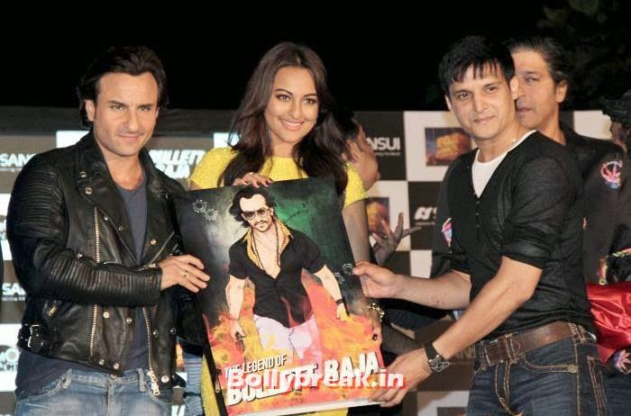 Sonakshi Sinha with saif ali khan and jimmy shergill, Sonakshi Sinha sizzles at Bullett Raja Press Meet