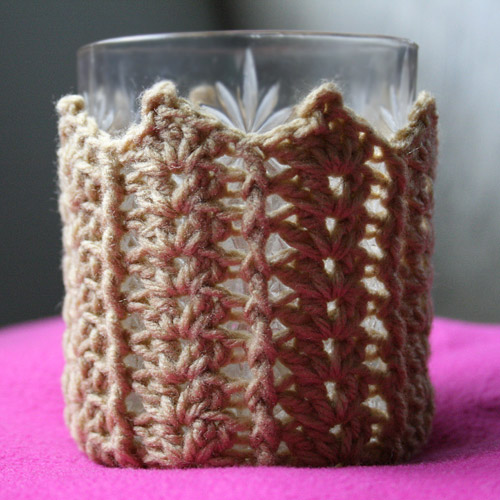 crochet glass/bottle holder