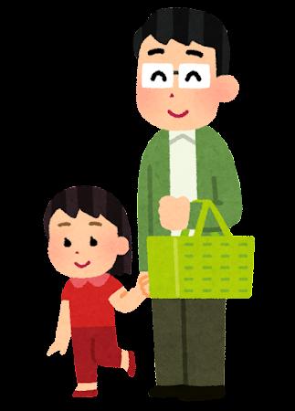 スーパーで買い物中の父親と子供のイラスト