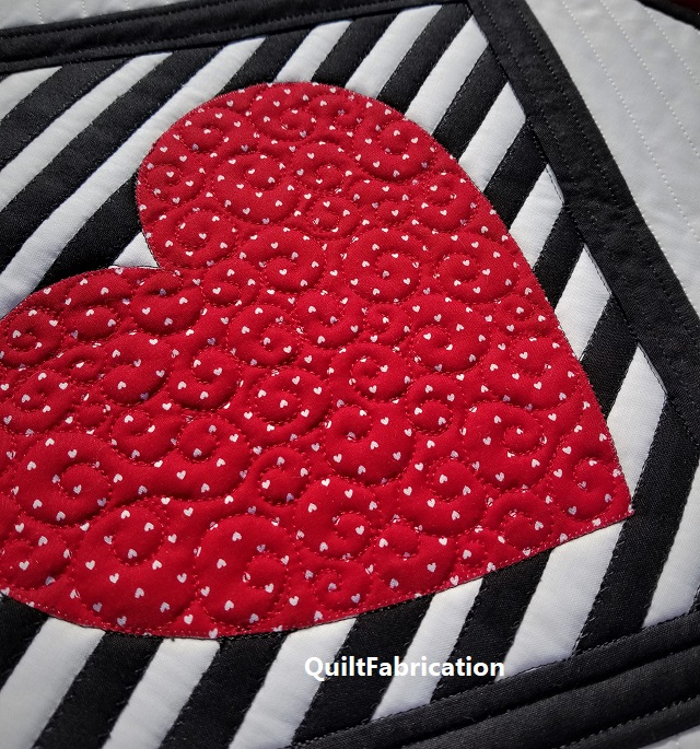 Love Match heart curl quilting
